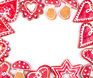 Gingerbread cookies. And spices over white background close up christmas decoration Stock Photo