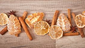 Gingerbread cookies and spices Royalty Free Stock Images
