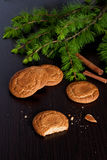 Gingerbread cookies and spruce branches on a black background. Close up, vertical Stock Image