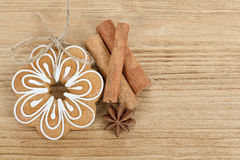 Gingerbread cookies with star anise and cinnamon Royalty Free Stock Photography