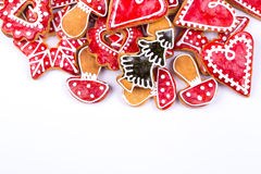 Gingerbread cookies star and heart. Gingerbread cookies star isolated on white Stock Photos