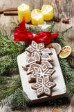 Gingerbread cookies in star shape. Christmas arrangement Royalty Free Stock Image