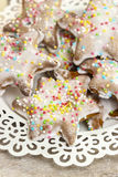 Gingerbread cookies in star shape, christmas dessert. Gingerbread cookies in star shape, festive and christmas dessert Stock Images