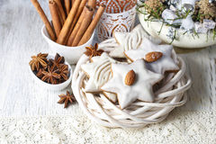 Gingerbread cookies in star shape decorated with almonds Royalty Free Stock Photo