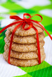 Gingerbread cookies tied with red ribbon Stock Photo