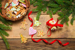 Gingerbread cookies tying with red ribbon Stock Images