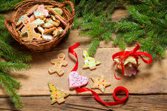 Gingerbread cookies tying with red ribbon Royalty Free Stock Photo