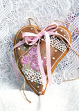 Gingerbread cookies Valentine's Day heart-shaped Royalty Free Stock Images