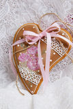 Gingerbread cookies Valentine's Day heart-shaped Stock Image