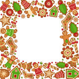 Gingerbread cookies vector frame Royalty Free Stock Photo
