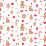 Gingerbread cookies vector seamless pattern. Royalty Free Stock Image