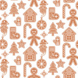 Gingerbread cookies vector seamless pattern. Stock Image