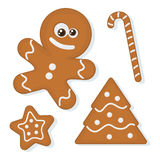Gingerbread Cookies. Vector set of christmas homemade gingerbread cookies Royalty Free Stock Photos