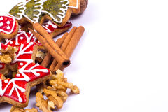 Gingerbread cookies with wallnut and cinnamon Royalty Free Stock Images
