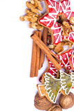 Gingerbread cookies with wallnut and cinnamon Royalty Free Stock Photography