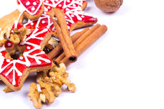 Gingerbread cookies with wallnut and cinnamon Stock Photography