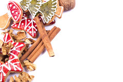 Gingerbread cookies with wallnut and cinnamon Stock Images