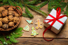 Gingerbread cookies and walnuts for Christmas Stock Images