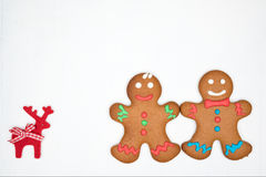 Gingerbread cookies on the white Royalty Free Stock Image