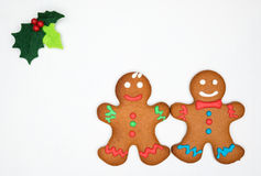 Gingerbread cookies on the white Stock Photos