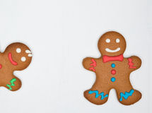 Gingerbread cookies on the white Stock Photo