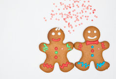 Gingerbread cookies on the white Royalty Free Stock Images