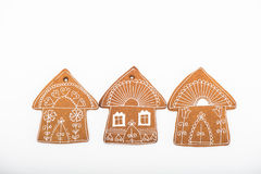 Gingerbread cookies on white background Stock Photos