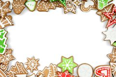 Gingerbread cookies on white background. Snowflake. Christmas frame cookies new year fir tree isolated white background gingerbread man vector illustration