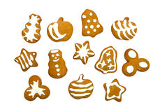 Gingerbread cookies on white background Royalty Free Stock Photos