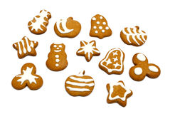 Gingerbread cookies on white background Stock Images