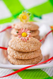 Gingerbread cookies on white plate stock photo