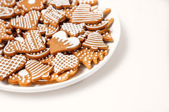 Gingerbread cookies in the white plate Stock Photography