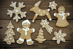 Gingerbread Cookies on Wood II Royalty Free Stock Images