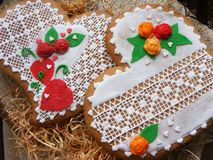 Gingerbread cookies. On wooden table Stock Photos