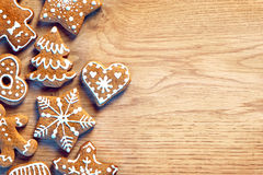 Gingerbread cookies on wooden table.  Merry Christmas and Happy New Year!! Royalty Free Stock Photo