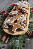 Gingerbread cookies on wooden tray Stock Photography