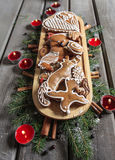 Gingerbread cookies on wooden tray Stock Image