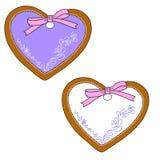 gingerbread Corazón de la hornada para el día del ` s de la tarjeta del día de San Valentín Vector aislado Foto de archivo
