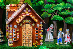 Gingerbread Cottage. Depicting hansel and Gretel in a shop window display Stock Photo