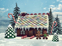 Gingerbread cottage in a forest stock illustration