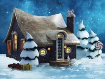 Gingerbread cottage in winter royalty free illustration