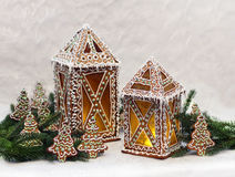 Gingerbread cottages with Christmas tree branches Royalty Free Stock Images