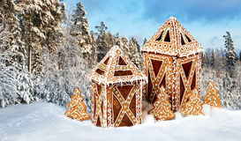 Gingerbread cottages in snowy winter scenery Royalty Free Stock Photo