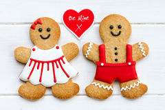 Gingerbread couple. For Valentines Day Stock Images