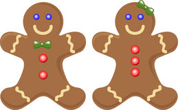 Gingerbread Couple. A cute gingerbread couple side by side smiling stock illustration