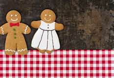 Gingerbread couple on a baking tray Royalty Free Stock Photography