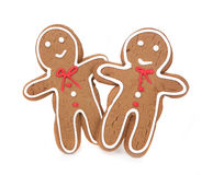 Gingerbread Couple Holding Hands on White Background Royalty Free Stock Images