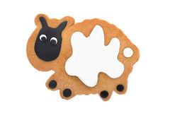Gingerbread cow isolated on white Stock Image