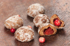 Gingerbread with cranberry filling Stock Images