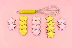 Gingerbread. Cupcakes with Valentine`s Day decor. Flat lay. Top view. pink background stock images